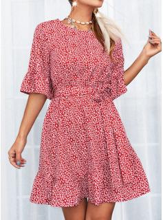 Print A-line 1/2 Sleeves Mini Casual Skater Dresses