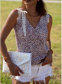 leopardo Scollatura a V Senza maniche Casuale