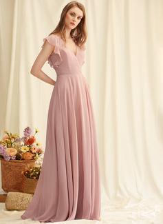 Kjole med A-linje V-hals Chiffon Chiffon Mode kjoler med Splittet Front