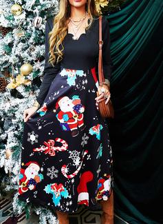 Druck A-Linien-Kleid Lange Ärmel Midi Weihnachten Skater Modekleider