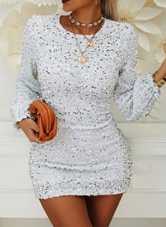 pailletter Solid Bodycon Lantern ærmer Lange ærmer Mini Party Elegant Mode kjoler