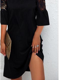 Sólido Vestidos sueltos Mangas 1/2 Mini Pequeños Negros Elegante Vestidos de moda