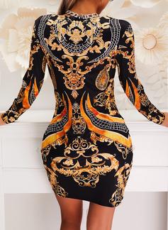 印刷 ボディコンドレス 長袖 ミニ ビンテージ エレガント ファッションドレス