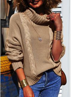 Helancă gündelik Solid Tricot Cablu Bucată tricotată Kazak