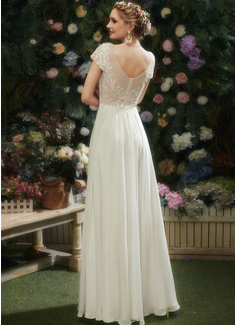 A-Linje V-ringning Golvlång Bröllopsklänning med Spets Beading Paljetter