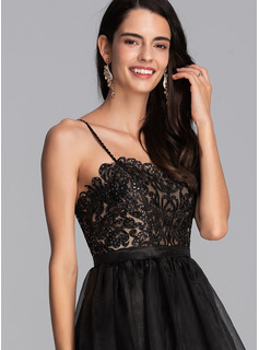 A-Line V-neck Short/Mini Organza Homecoming Dress With Beading Sequins