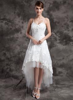 A-Linje V-ringning Asymmetrisk Organzapåse Tyll Bröllopsklänning med Beading Applikationer Spetsar