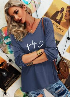Figure Print V-Neck Long Sleeves Casual T-shirt