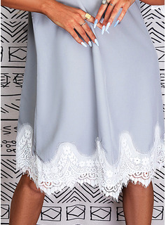 Skiftekjoler 3/4 ærmer Midi Casual Tunika Mode kjoler