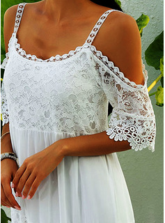 Lace Solid Shift 1/2 Sleeves Cold Shoulder Sleeve Maxi Casual Vacation Dresses