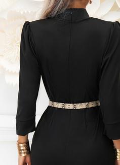 Solid Sheath 3/4 Sleeves Puff Sleeves Midi Little Black Elegant Dresses