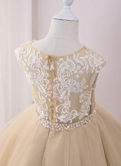 Robe Marquise/Princesse Longueur mollet Robes à Fleurs pour Filles - Tulle/Dentelle Sans manches Col rond avec Brodé/Paillettes