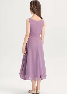 Çan Yuvarlak Yaka Uzun Etekli Şifon Küçük Nedime Elbisesi Ile Büzgü