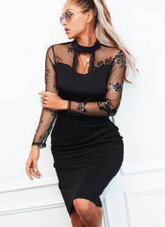 Pizzo Paillettes Aderente Maniche lunghe Midi Piccolo nero Partito Elegante Matita Vestiti di moda