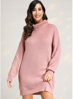 Cuello De Tortuga poliéster Mangas Largas Sólido/Punto Grueso/Punto De Cable Vestido de Suéter Vestidos de moda