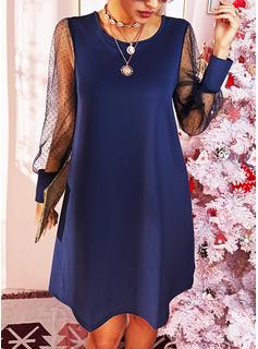 Solid Skiftekjoler Lange ærmer Puf-ærmer Mini Casual Elegant Tunika Mode kjoler