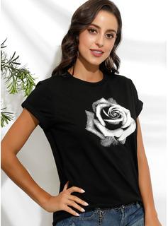 Drucken Blumen Kurze Ärmel Baumwolle Rundhals T-shirt Blusen