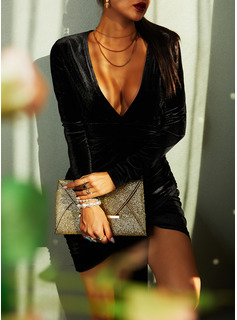 Solid Bodycon Long Sleeves Mini Little Black Party Sexy Dresses