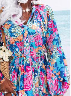 Floral Impresión Vestido línea A Manga Larga Mini Casual Vacaciones Patinador Vestidos de moda