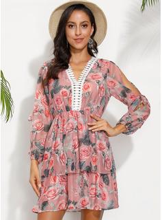 Over Knee V-hals Polyester Print Lange ærmer/Kold-skulder ærmer Mode kjoler