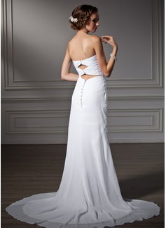 A sirena/Stile sirena Innamorato Coda a strascico corto Chiffona Abiti da sposa con Increspature Perline