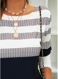 Color Block Striped Round Neck Long Sleeves Casual Blouses