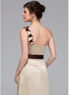 A-Line/Princess One-Shoulder Floor-Length Satin Bridesmaid Dress With Sash Flower(s)