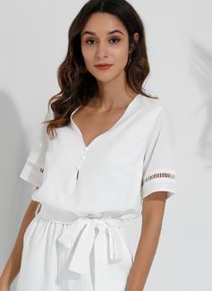 Litera V Mieszanka Wydrążony Krótkie Rękawy Jednolity Modne Suknie
