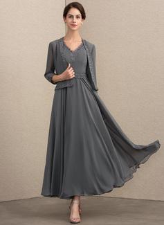 Aライン/プリンセスライン2 Vネック くるぶし丈 シフォン ミセスドレス とともに ビーズ スパンコール