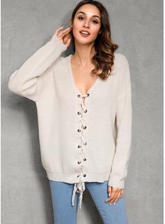 V-Ausschnitt Lässige Kleidung Einfarbig Grobstrick Pullover