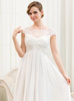 A-Linje Illusion Golvlång Chiffong Bröllopsklänning med Rufsar Applikationer Spetsar