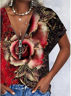 Floral Impresión Cuello en V Manga Corta Casual