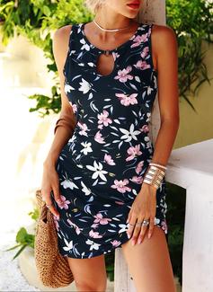 Blumen Druck Etuikleider Ärmellos Mini Lässige Kleidung Urlaub Trägerhemd Modekleider