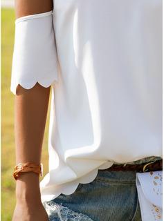 Solido Girocollo Maniche corte Casuale Camicie