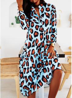 leopardo Abiti dritti Maniche lunghe Midi Casuale Vacanza Tunica Vestiti di moda