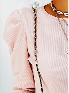 Solid Round Neck Long Sleeves Puff Sleeves Elegant Blouses