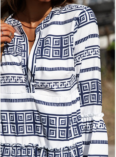 Print Rand Shiftklänningar 3/4 ärmar Flare Ärm Mini Boho Fritids Semester Tunika Modeklänningar