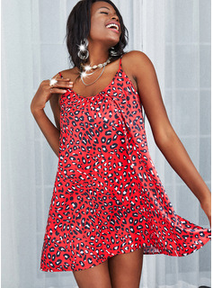 Leopardo Vestidos sueltos Sin mangas Mini Casual Tipo Vestidos de moda