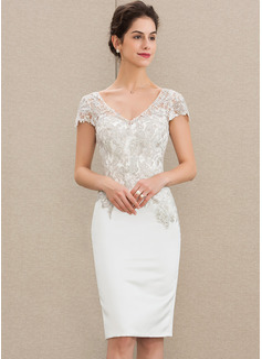 Sheath/Column V-neck Knee-Length Satin Lace Cocktail Dress