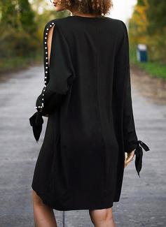 Einfarbig Perlen Etuikleider Lange Ärmel Midi Kleine Schwarze Elegant Tunika Modekleider
