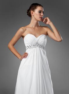 Empire Sweetheart Sweep Train Chiffon Wedding Dress With Ruffle Beading