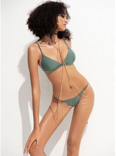 Bikinis poliéster Del spandex Cintura Baja Tanga Con Tirantes De mujer Sí Ropa de baño