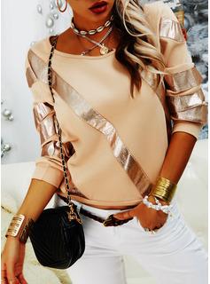 Pailletten Rundhalsausschnitt Lange Ärmel Lässige Kleidung Blusen