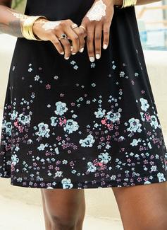 Over Knee rund hals Bomuld Print Uden Ærmer Mode kjoler