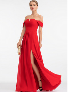 A-Line Off-the-Shoulder Floor-Length Chiffon Evening Dress With Split Front