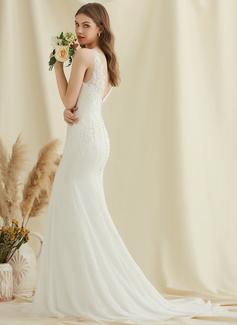 Trumpet/Mermaid V-neck Court Train Chiffon Lace Wedding Dress
