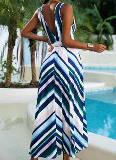 Striped A-line Sleeveless Maxi Party Sexy Skater Wrap Dresses