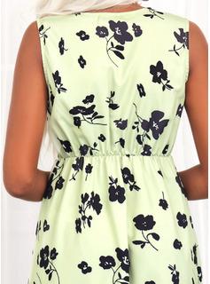 Blomster Print Kjole med A-linje Ærmeløs Midi Casual skater Mode kjoler