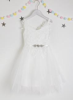 A-Line Knee-length Flower Girl Dress - Tulle/Lace Sleeveless V-neck With Beading