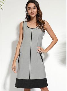knælange rund hals Polyester Farve-blok Uden Ærmer Mode kjoler